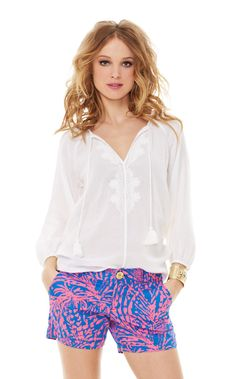 Etta Embroidered Top (Resort 365 2014) - The Etta lightweight blouse is a transition piece everyone needs. From shorts to pants or a skirt, you can wear Etta with anything. This fall blouse will be in constant rotation this season and you'll love it. // 3/4 Sleeve Loose Fitting Blouse With Ties And Embroidery. Finishes At Low Hip. Woven Breezy Gauze - Solid (61% Rayon, 39% Cotton). Machine Wash Cold, Delicate Cycle