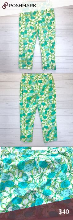 """Lilly Pulitzer Pants Still in good condition. Size 6. Lay Flat Measurement; inseam-24 1/2"""". Length Approx-35"""". Ankle Opening-7"""". Rise-10 1/2"""". Waist-15"""". Hip-19"""". Stretchy. Ankle pants. Tiny pocket in one side front. No Trades. No low ball offers. #G013 Lilly Pulitzer Pants Ankle & Cropped"""