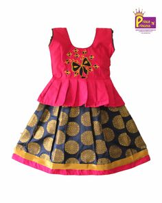 Designer Pink Pattu Pavadai with frills. Grand Pavadai for Special Occasion . Kids Dress Wear, Kids Gown, Baby Frocks Designs, Kids Frocks Design, Baby Dress Design, Frock Design, Baby Girl Party Dresses, Dresses Kids Girl, Kids Lehanga Design