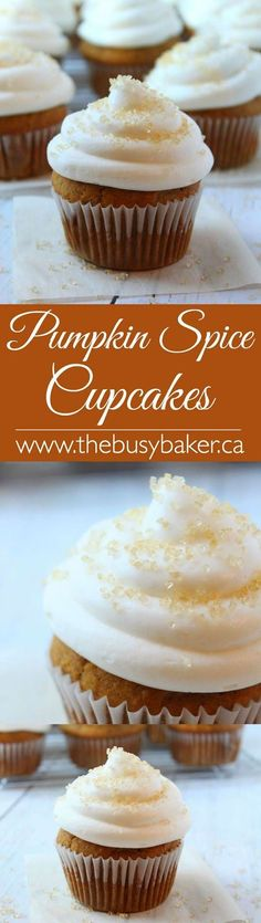 The Busy Baker: Pumpkin Spice Cupcakes This easy cupcakes recipe makes the perfect introduction to fall! With warm spices and deep pumpkin flavour, these pumpkin spice cupcakes are delicious served with a warm cup of cider! Fall Desserts, Mini Desserts, Just Desserts, Delicious Desserts, Thanksgiving Desserts, Oreo Dessert, Pumpkin Dessert, Easy Cupcake Recipes, Dessert Recipes