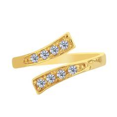 Yellow Gold Crossover With CZ Stones By Pass Style Adjustable Toe Ring - JewelryAffairs - 1 Gold Toe Rings, Fine Jewelry, Women Jewelry, Fashion Jewelry, Rings Online, Metal Stamping, Cz Stones, Solid Gold, Jewelry Collection