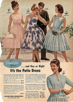 Sweet, flirty, softly hued summer patio dresses for day or night in 1960.  Are you kidding me? Ten dollars for a dress...I couldn't afford that!
