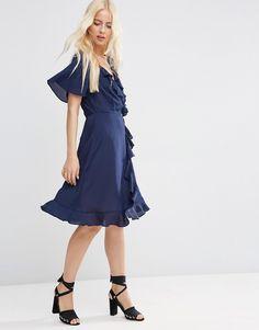 ASOS Midi Tea Dress With Ruffle Wrap Front