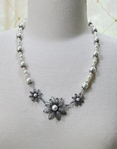 Pearl Necklace, Metal Flower Pendent, Handmade Necklace, Wedding, Free Shipping