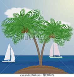 Palm trees on sea background with sailboats. Can be used to advertising, decoration of cards, phones, baby food, toys, websites,  furniture, bags, home decoration, linens etc. - stock vector