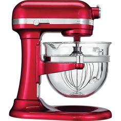 Bewonder en ervaar de tijdloze schoonheid en vlekkeloze prestaties van de iconische KitchenAid Artisan mixer/keukenrobot met in de hoogte verstelbare stijlvolle nieuwe 6 L glazen kom en specifieke standaardaccessoires/-toebehoren.