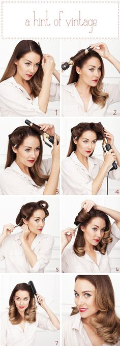 INSTRUCTIONS:    1) Find your side part. Either side will do.    2, 3, 4 & 5) You're going to curl ALL of your hair inward toward your face (as Lauren does above) and clip the curls in place with large setting clips. Mist all over with a light-medium holding hairspray. Let them cool while you put on your makeup. Multi-Tasking!! 15 minutes should do the trick. :)