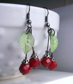 Valentine's Day Cherry Bomb Earrings by Countrified Pride Designs