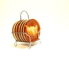 WET WET WET Vintage Kitsch Retro Orange Coasters by lavibohemme, $30.00