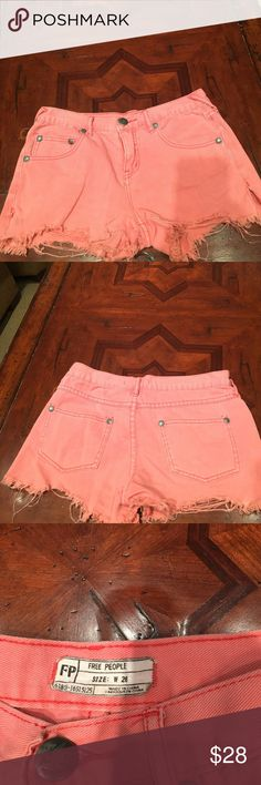 Free People jean shorts Super cute, washed out, cut off mid-waist jean shorts from Free People! Free People Shorts Jean Shorts