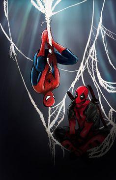Spideypool by darkHarms on DeviantArt Deadpool Y Spiderman, Deadpool Love, Spiderman Art, Deadpool Stuff, Spideypool, Loki Avengers, Steve And Tony, Spider Girl, Red Team