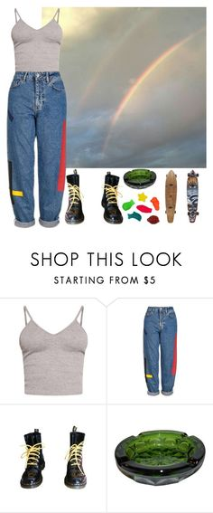 """the rainbow connection"" by shinedownsiren ❤ liked on Polyvore featuring BasicGrey, Topshop and Dr. Martens"
