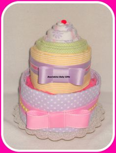 TOWEL BABY SHOWER CAKES | Piece Receiving Blanket/Hooded Towel Baby Shower Centerpiece Cake