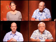 Insights on PBS Hawaii with moderator Dan Boylan: What do GMOs mean for our crops, for our food… for Hawaii?  Panelists from top left clockwise:  Andrea Brower, Former Co-Director, Malama Kauai; Dennis Gonsalves, Retired Director of the USDA Pacific Basin Agricultural Research Center, Hilo; Hector Valenzuela, Vegetable Crops Extension Specialist, University of Hawaii-Manoa; Clarence Nishihara, State Senator, Chairman, Agriculture Committee