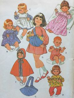 Vintage Doll Clothes Sewing Pattern