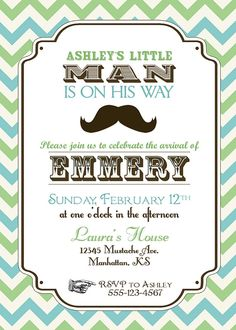 Vintage Little Man Mustache Baby Shower by 3LittleMonkeysStudio, $35.00
