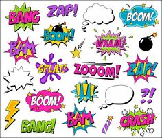 Superhero Clipart Comic Book Clip Art Comic Text by YarkoDesign Comic Art, Comic Kunst, Comic Books, Superhero Clipart, Baby Superhero, Book Clip Art, Girl Clipart, Arte Pop, Costume Ideas