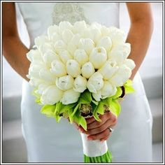 #White tulips bridal bouquet ... For a Bouquet Guide & wedding ideas for brides, grooms, parents & planners ... https://itunes.apple.com/us/app/the-gold-wedding-planner/id498112599?ls=1=8 ♥ http://pinterest.com/groomsandbrides/boards/ ♥