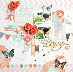 Kaisercraft Dream Big:Dreaming Wishing Fantasize Paper Pad Collectables Sticker Sheet Pearls – Ice Green Flourish Packs – Love and Cherish Coral Paper Blooms Scrapbook Pages, Scrapbook Layouts, Scrapbooking, Dream Live, Paper News, Specialty Paper, Card Envelopes, Little Sisters, Flourish