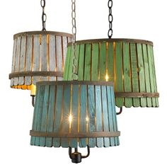 Lighting made from vintage bushel baskets.