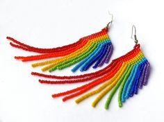Rainbow Earrings. Beaded Multicolored Long Earrings. Colorful Fringe Dangle Earrings. Beadwork. $24.00, via Etsy.