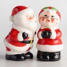 Cost Plus World Market Santa and Mrs. Claus Ceramic Salt and Pepper Shaker Set