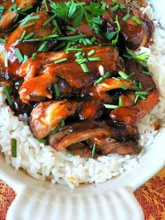 TERIYAKI CHICKEN - crock pot----Used honey instead of sugar and added diced onion & sesame oil to the sauce. Will DEFINITELY make this again! So good and easy! Served with quinoa and roasted veggies!