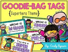 These SUPERHERO THEMED goodie bag tags are the perfect easy printable to use for Meet-the-Teacher Night!Just print out the page(s) you need on cardstock, cut out and fold along the middle lines. Staple the tag to the top of a baggie filled with treats for your new little ones! (Idea -- StarBursts would be a fun treat to put inside this themed treat bag!)Each download has a page of tags for all grade levels Pre-K through 5th grade, with a bonus BLANK tag page, as well, for you to write your…