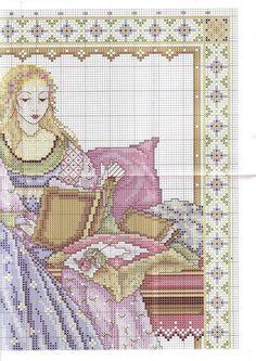 0 point de croix femme princesse du moyen age  - cross stitch middleages lady part 3
