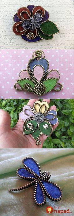 Sewing Tips Helpful Hints wedding jewelry tips tricks and helpful hints Zipper Flowers, Felt Flowers, Crochet Flowers, Fabric Flowers, Felt Crafts, Fabric Crafts, Sewing Crafts, Jewelry Crafts, Handmade Jewelry