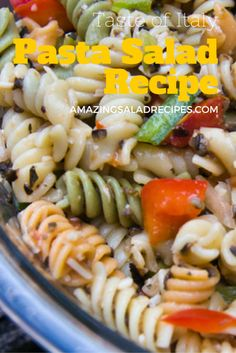 Fusilli pasta blends with green and red bell peppers, parmesan, onion, mushrooms, and Italian dressing. The result is this flavorful pasta salad which the whole family will love.