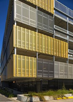 Colourful perforated metal facade. Revesby Train Station.