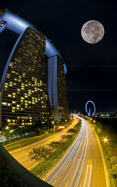 Full Moon Highway by Edward Tian on Beautiful Moon, Beautiful World, Beautiful Places, Singapore Travel, Sands Singapore, Wanderlust Singapore, Philippines, Belle Villa, City Lights