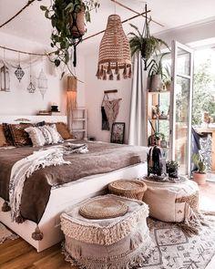 Modern Bohemian Bedroom Decor Ideas - Bohemian Home Bedroom Room Ideas Bedroom, Dream Bedroom, Dream Rooms, Bedroom Designs, Bed Designs, Bohemian Bedroom Decor, Cute Room Decor, Aesthetic Room Decor, Cozy Room