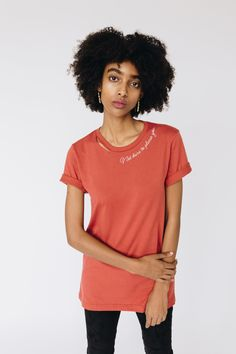 Not Here To Please You Cut Collar Tee ($34) - 100% cotton; relaxed fit. Your purchase from My Sister supports after-care programs and provides growth opportunities for survivors of sexual exploitation and trafficking!