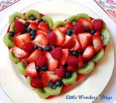 Heart Healthy, Heart Shaped Fruit Salad ~ fill the plate with strawberries, kiwis, blueberries and raspberries