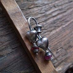 HEARTFELT, ruby gemstone, sterling silver, ruby earrings, decorative ear wires, heart shape ear wires by pieceofmysoulArt on Etsy