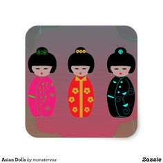 Asian Dolls Square Sticker #Dolls #Asian #Asia #Japanese #Fashion #Sticker