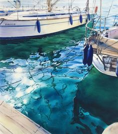 "7,524 Likes, 79 Comments - Julia Barminova  WATERCOLOR (@juliabarminova) on Instagram: ""And just a photo;) New artwork ""Untitled""  Location: Port in Malaga, Spain; ⚓️Collection: ""Island…"""