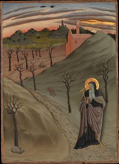 Saint Anthony the Abbot in the Wilderness / San Antonio Abad en el desierto //ca. 1435 //Osservanza Master (Italian, Siena)// This panel is part of a cycle of scenes depicting the life of the hermit Saint Anthony Abbot. The painter's penchant for original and descriptive narrative detail appears in the treatment of the desert landscape and its fauna (symbols of the saint's temptations) beneath the luminous sky at dusk. A pot of gold in the lower left corner (which has been scraped