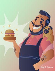 big boss, pug, man, burger, poster,  ilustration, jorge d. espinosa