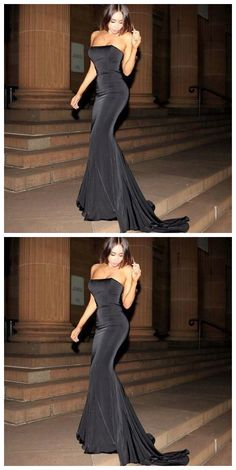Black mermaid evening prom gown with fishtail train  by Ai prom dresses, $109.91 USD Black Prom Dresses, Formal Dresses, Black Mermaid, Fishtail, Perfect Fit, Custom Made, Evening Dresses, Train, Gowns