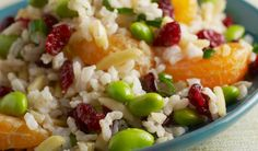Brown Rice and Orange Salad with Cranberries, Edamame, and Almonds Brown Rice Cooking, Salad Recipes, Healthy Recipes, Healthy Meals, Rice Side Dishes, Main Dishes, Eat On A Budget, Orange Salad