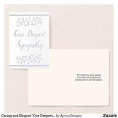 """Shop Caring and Elegant """"Our Deepest Sympathy"""" Card created by AponxDesigns. Paper Envelopes, White Envelopes, Deepest Sympathy, Condolences, Colored Paper, Sympathy Cards, Gold Foil, Thoughts, Elegant"""