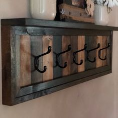Rustic Coat Rack With Shelf- Entryway Coat Rack with Shelf – Bathroom Towel Rack with Shelf – Farmhouse Coat Rack – Cabin Coat Rack – Towel hanger diy Hanging Coat Rack, Coat Rack Shelf, Coat Hanger, Pallet Coat Racks, Rustic Coat Rack, Pallet Towel Rack, Rustic Towel Rack, Diy Furniture Projects, Wood Projects