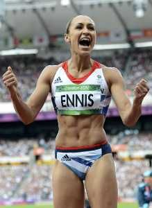 Britain's Jessica Ennis celebrates after her second jump in the women's heptathlon Group B long jump event during the London 2012 Olympic Games at the Olympic Stadium August 4, 2012