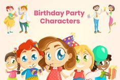 Birthday Party Characters Set   GraphicMama Vector File, Vector Graphics, Party Characters, File Organization, 12th Birthday, Design Bundles, Birthday Cards, Presentation, Graphic Design