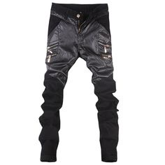 Hot 2017 new men's pu leather straight pants motorcycle casual skinny trousers Black size 28-36 A106