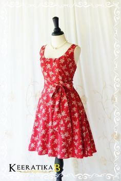 My Lady Floral Sundress Red Floral Spring by LovelyMelodyClothing