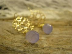 CIRCLES 16 carat gold plated EARRINGS with purple Chalcedon